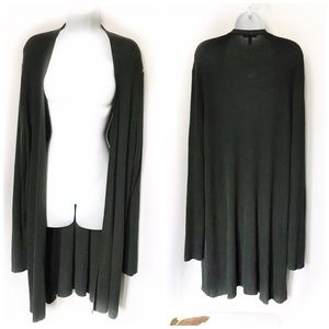 Plus Eileen Fisher gray ribbed open front cardigan